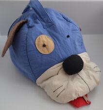 New 100% Cotton Boys Girls School Sports PE Kit Bag PJs Storage Dog Head Blue