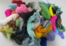 Dyed  Wool Roving Lot for Felting Mixed Colors Snippets from Past Projects 70 gr