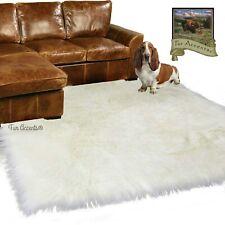 Sheepskin Shag Area Rug - Plush Shaggy Faux Fur - White - Rectangle - 5'x7'