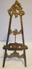 """Vintage Ornate Large 10"""" Tall Brass Gold Folding Easel Book Art Display Stand"""