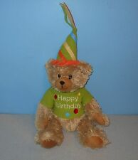 "14"" Shaggy Tan Happy Birthday Teddy Bear Bean Stuffed Plush w/ Hat & Shirt"