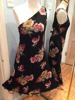 Ralph Lauren 100% Silk black dark Floral PRINT Dress SIZE UK 10 ONE SHOULDER