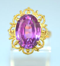 VINTAGE 18K YELLOW GOLD RING LARGE OVAL PINK STONE GAL APPRAISED $1250 SIZE 7.5