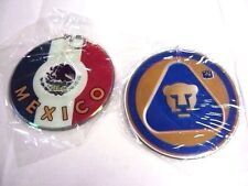 2 Pumas UNAM Rear Car Mirror Deco Disc CD Shape Mexico Flag Futbol Soccer NEW
