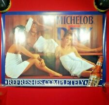 "Vintage Sexy Girl MICHELOB DRY Beer Poster 20"" x 28""  Man Cave Frat Decor Prop"