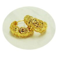 Hoops Earrings  22K 23K 24K Thai Baht Yellow Gold Plated Jewelry Fashion Women