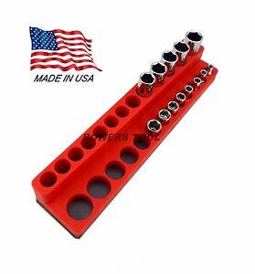 Mechanics Time Saver 1/4 Drive Magnetic Socket Holder SAE Deep Organizer MTS
