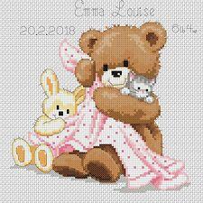 Cross Stitch Chart New Baby  Bear & Blanket pink FlowerPower37-uk