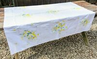 """Vintage Mid Century Colorful Floral Print Tablecloth Flowers 49 x 53"""" -Stained"""