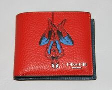 💚 COACH Marvel 3 in 1 Wallet with Spiderman Red Leather Billfold SHIPS FAST!