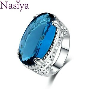 Women Sapphire Gemstone 925 Silver Ring Jewelry Anniversary Fashion Party Gift