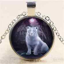 White Tiger And Moon Cabochon Glass Tibet Silver Chain Pendant Necklace