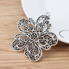 5pcs Antique Silver Large Flower Charms Pendants for Necklace Jewelry Making