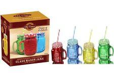 Coloured Glass Mason Jars Jams Drinks Cocktail Summer With Handle Straw 450ml