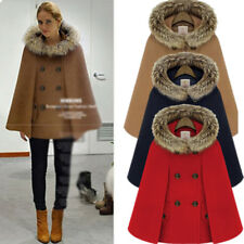 New Womens Fur Collar Cape Blazer Jacket Coat Cloak Outwear Poncho Trench Hooded