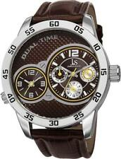 Joshua & Sons JS97BR Dual Time Day Date GMT Yellow Accented Brown Mens Watch