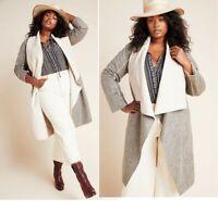 Anthropologie Camilla Gray Faux Suede Sherpa Long Grey Jacket Coat 1XL NWT$198