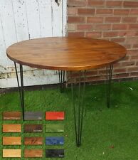 Rustic Industrial Wooden Dining Round Table Metal Hairpin Legs DIFFERENT SIZES