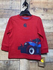 Carhartt Boys 6M Long Sleeve T-Shirt Red Graphic Print Tractor & Logo Tee New