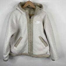 Nike NSW Coat Size Small Womens Tan Ivory Sherpa Reversible Jacket Hood Full Zip