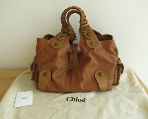 Vintage Chloe Tan Cognac Italian Leather Silverado Tote Bag -Exc Clean Condition