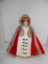 "Vintage 12 3/4"" Infant of Prague Jesus Chalkware Statue With Gown VERY GOOD COND"