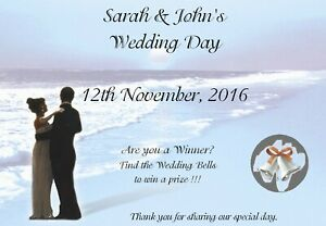 10 Personalised Wedding Scratch Cards A6 - Wedding Favour, Wedding Party Game B2
