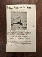 1903 Central New England Railway Print Ad Hartford Chicago Vintage Railroad 5x3