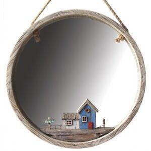 Nautical Beach Coastal inspired Hanging Wall Mirror 36cm