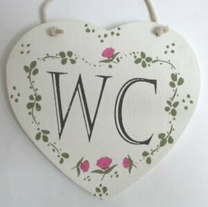 Shabby Chic Shaker Style WC Wooden Hanging Sign