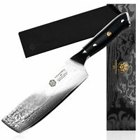 Kessaku Butcher Cleaver Nakiri Knife 67-Layer Japanese Damascus Steel, 7-Inch