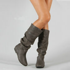 Womens Slouch Mid-Calf Boots Ladies Flat Slip On Knee High Boot Shoes Casual US