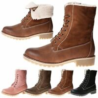 NEW WOMENS SHOES LADIES ANKLE BOOTS FOLD DOWN GRIP SOLE COMBAT FLEECE LINED SIZE