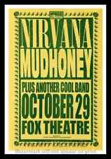"Framed Vintage Style Rock n Roll Poster ""NIRVANA & MUDHONEY""; 12x18"