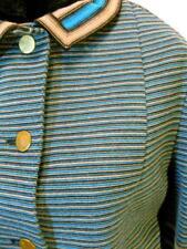1960's Vintage Italian Avagolf Knit Jacket Blue, Black & Brown 100% wool 14