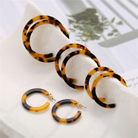 4Pairs Boho Women Vintage Acrylic Earrings Tortoise Shell Earrings Hoop Earrings