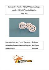 Leichtbau Kunststoff Kugellager 624 POM PA GLAS Plastic Bearing 4x13x5 mm