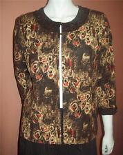 Silk Open JACKET TRENZ by THERESA RENZ  Dress Career Fall Autumn Wooden Trim  L