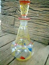 Vintage Old Glass Beautiful Flower Design Perfume Bottle.