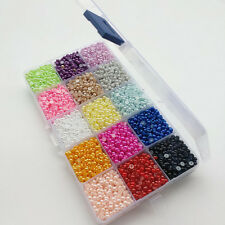1 Box 15 Colors 10000pcs Half Pearl Bead 4mm Flat Back Gem Craft DIY Beads