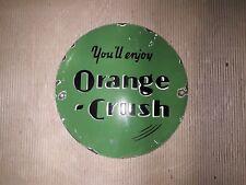"Porcelain Orange Crush  Sign 12"" Inches Round"
