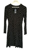 M&S Black Mix Petite Polka Dot Jersey Swing Dress Size 8 Fit And Flare Regular