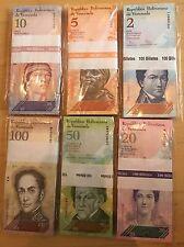 VENEZUELA 100 SETS OF 2,5,10,20,50,100 BOLIVARES UNC BANKNOTE (600 NOTES) BUNDLE