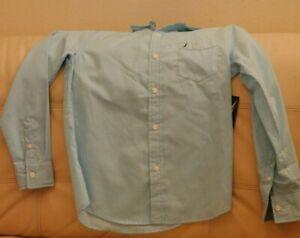 NEW WT BOYS NAUTICA DRESS COLLARED SHIRT TURQUOISE FRONT POCKET MEDIUM 10/12