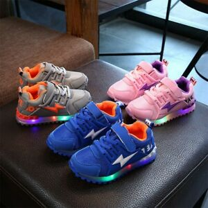 Kids Boys Girls LED Trainers Shoes Children Flashing Light Up Sneakers Toddler