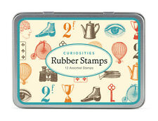 Cavallini - Tin of Rubber Stamps - Curiosities - Set of 12 Mini Stamps