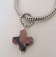 Natural Jasper Gemstone Cross Dangle Bead for Silver European Charm Bracelets