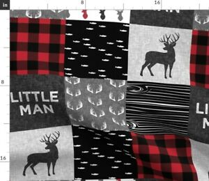 Woodland, Baby Boy, Red And Black, Buck, Buffalo Spoonflower Fabric by the Yard