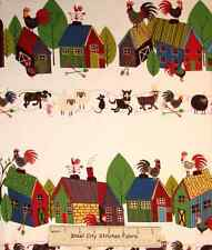 Home To Roost Farm Rooster Pig Horse Cow Animal Border Stripe Cotton Fabric YARD