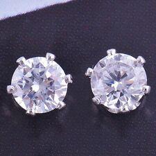 Crystal Round 6mm 9K White GF Womens/Mens Stud Earrings,F1365